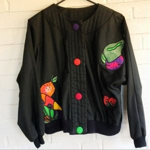 Vintage SilkScapes silk cotton boxy fruit jacket
